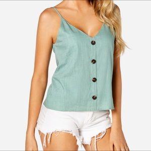 Green Button V-neck Sleeveless Camis
